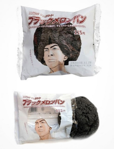 The package has a picture of a man with an afro hair but the hair portion is transparent so that the color of the cookie gives the black color for the hair.