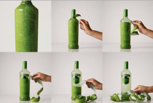 Smirnoff:  The bottle can be peeled, which gives an impression as if you are peeling a fruit.