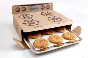 Thelma's Cookies: Ordinary packaging is turned into an oven with delicious treats inside.